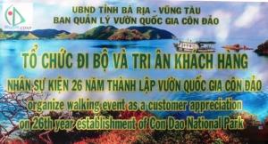 Tổ chức đi bộ, tri ân khách hàng nhân dịp kỷ niệm 26 năm thành lập Vườn quốc gia Côn Đảo